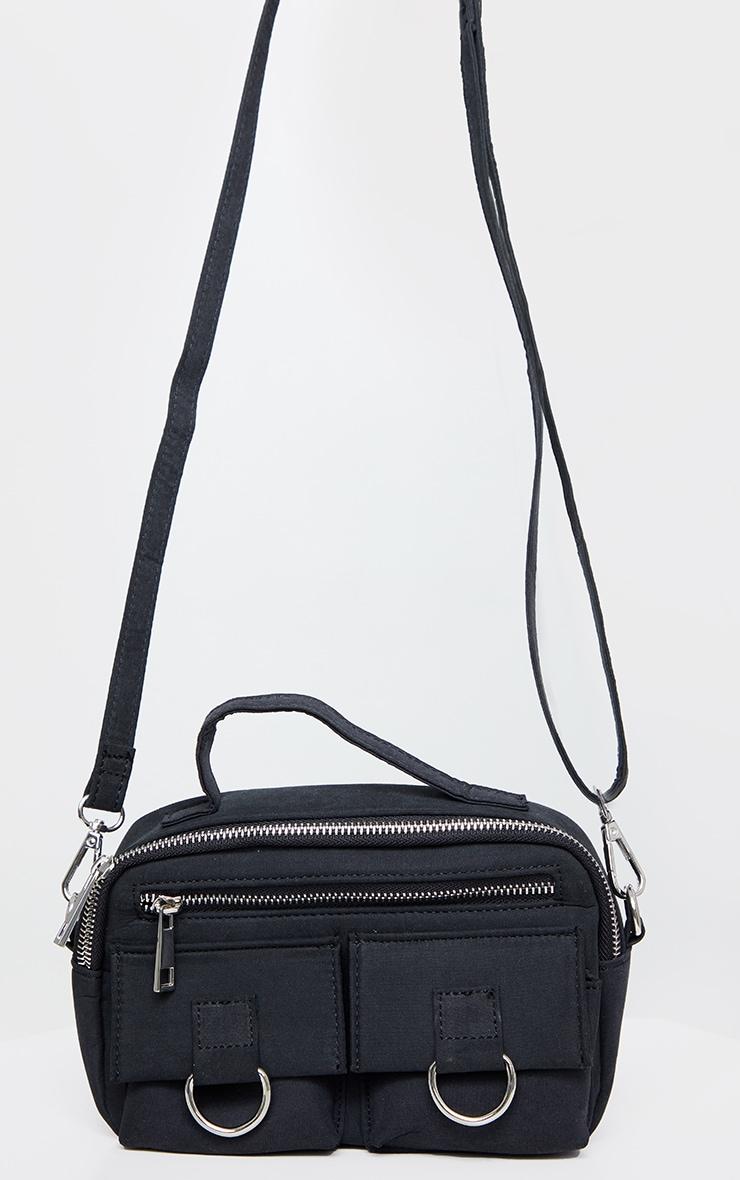 Black Rectangle Silver Ring Cross Body Bag 3