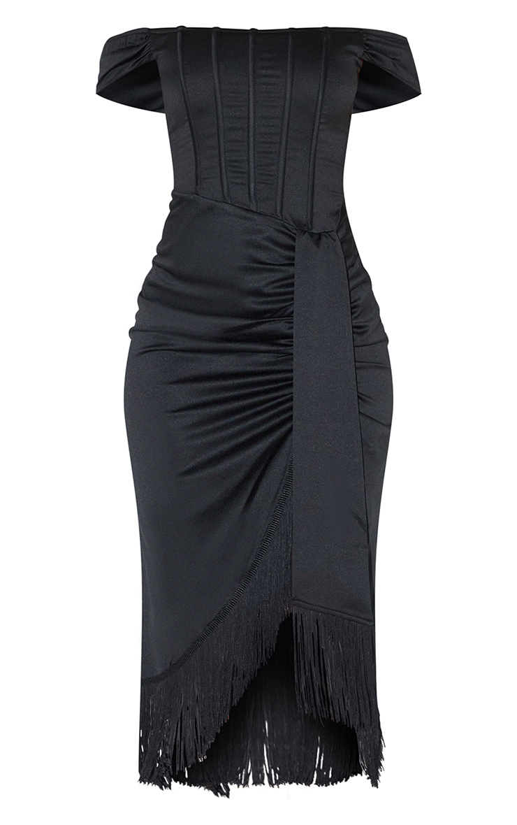Black Satin Bardot Tassel Hem Draped Midi Dress 5