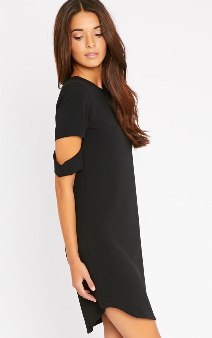 Nina Black Split Sleeve Waffle Shift Dress 4