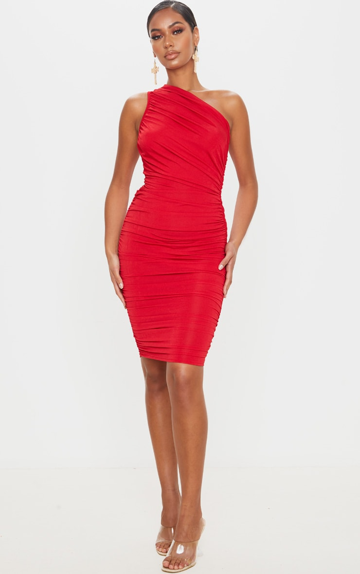 Red Slinky Ruched One Shoulder Midi Dress 1
