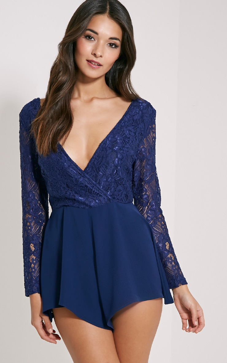 Angelica Navy Lace Up Back Playsuit 1