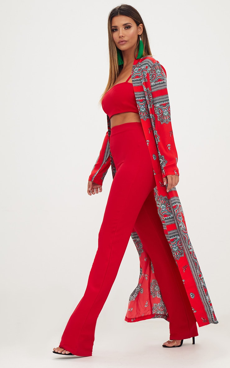 Red Silky Paisley Duster Coat 4