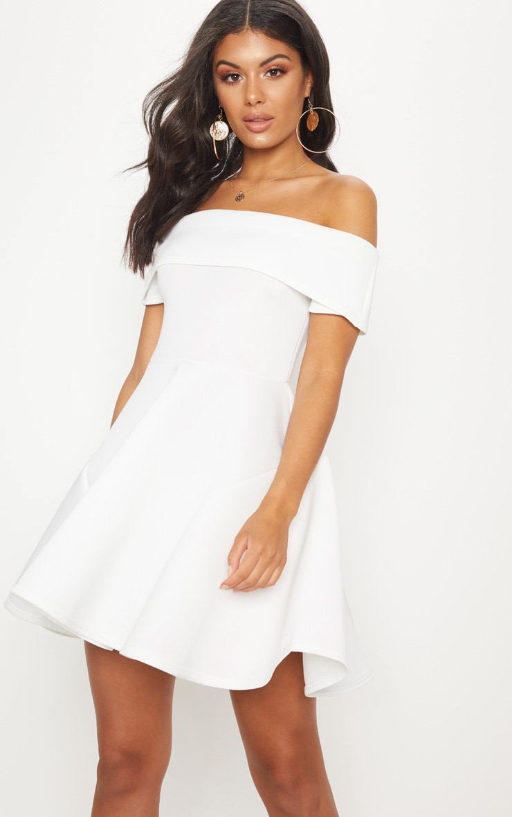WHITE BONDED SCUBA BARDOT SKATER DRESS