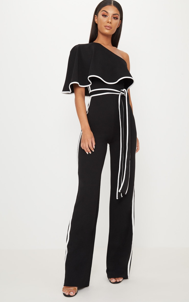 Black One Shoulder Contrast Binding Jumpsuit 1