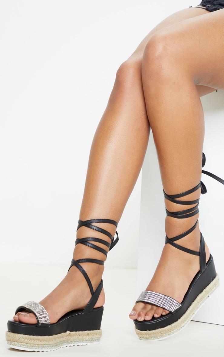 Sandales style flatform noires à strass et lacet cheville  1