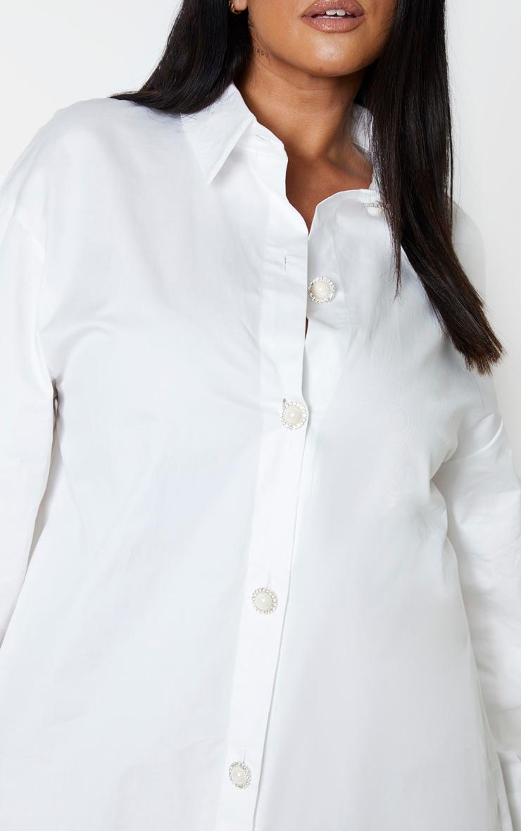 Plus White Pearl Button Oversized Shirt Dress 5