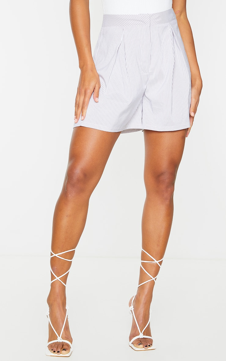 Grey Pinstripe Textured Woven Tailored Shorts 2