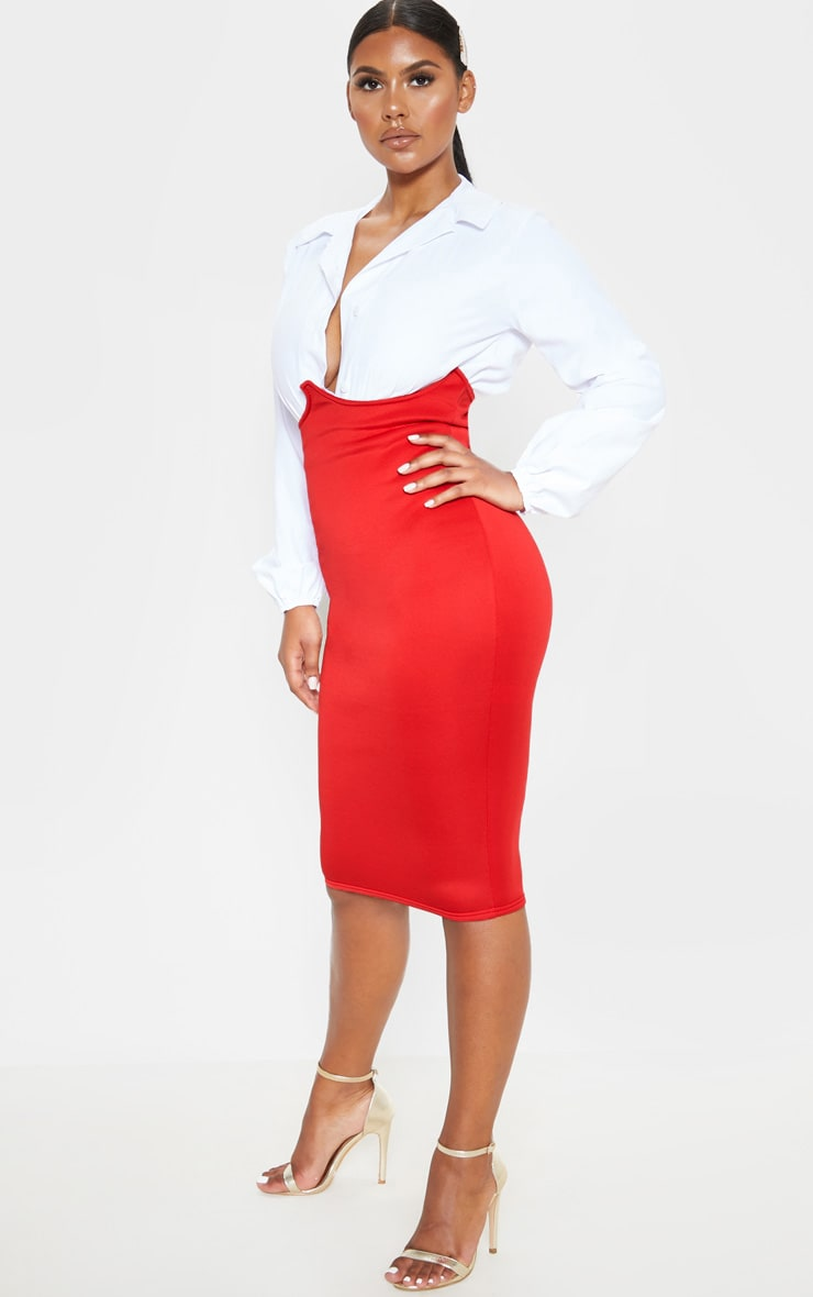 Red Scuba Bustier Midi Skirt 5
