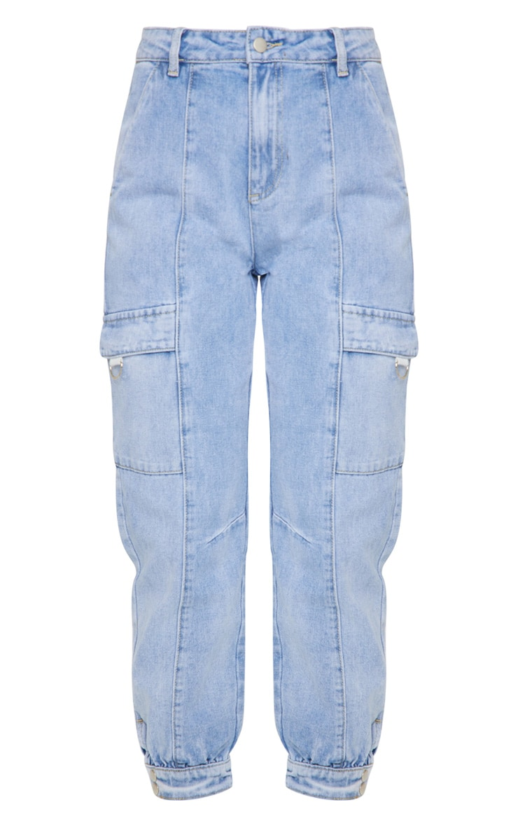 Vintage Wash Cargo Pocket Denim Jeans 5