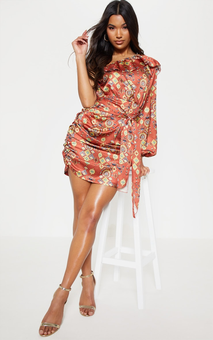 Brown One Sleeve Ruched Printed Bodycon Dress 1
