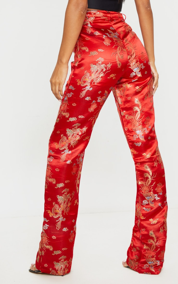 Red Jacquard Floral Straight Leg Trousers 3