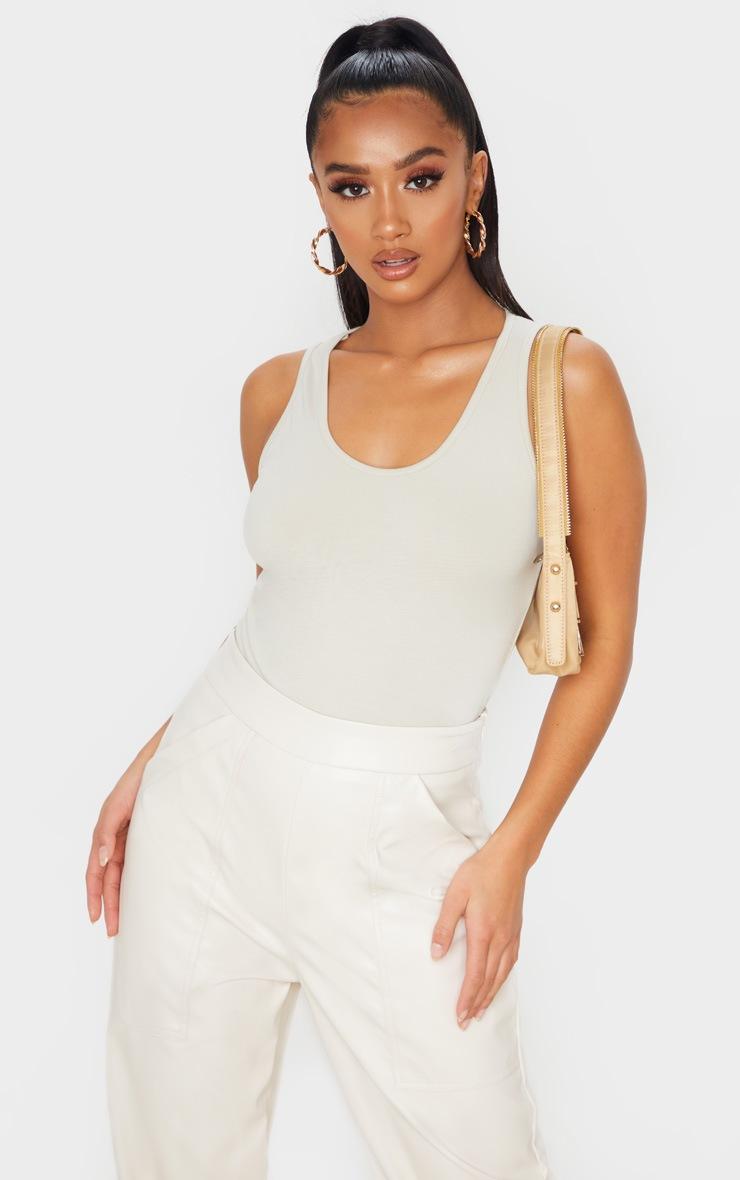 Petite Oatmeal Racer Cotton Sleeveless Bodysuit 6