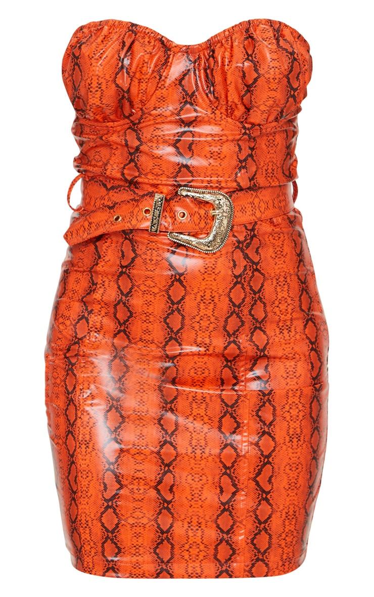 Petite Orange Snake Print Belted Bandeau Bodycon Dress 5