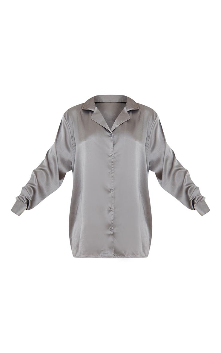 Charcoal Grey Oversized Satin Nightshirt 5