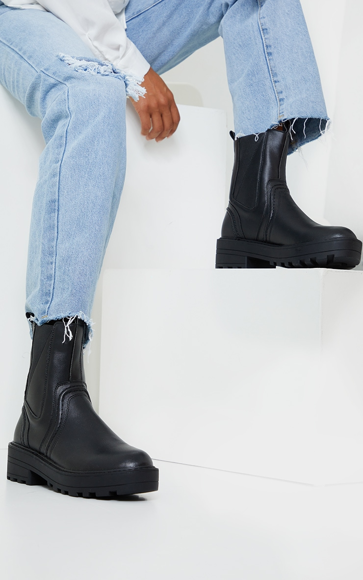 Black Matte PU Chunky Sole Ankle Boots