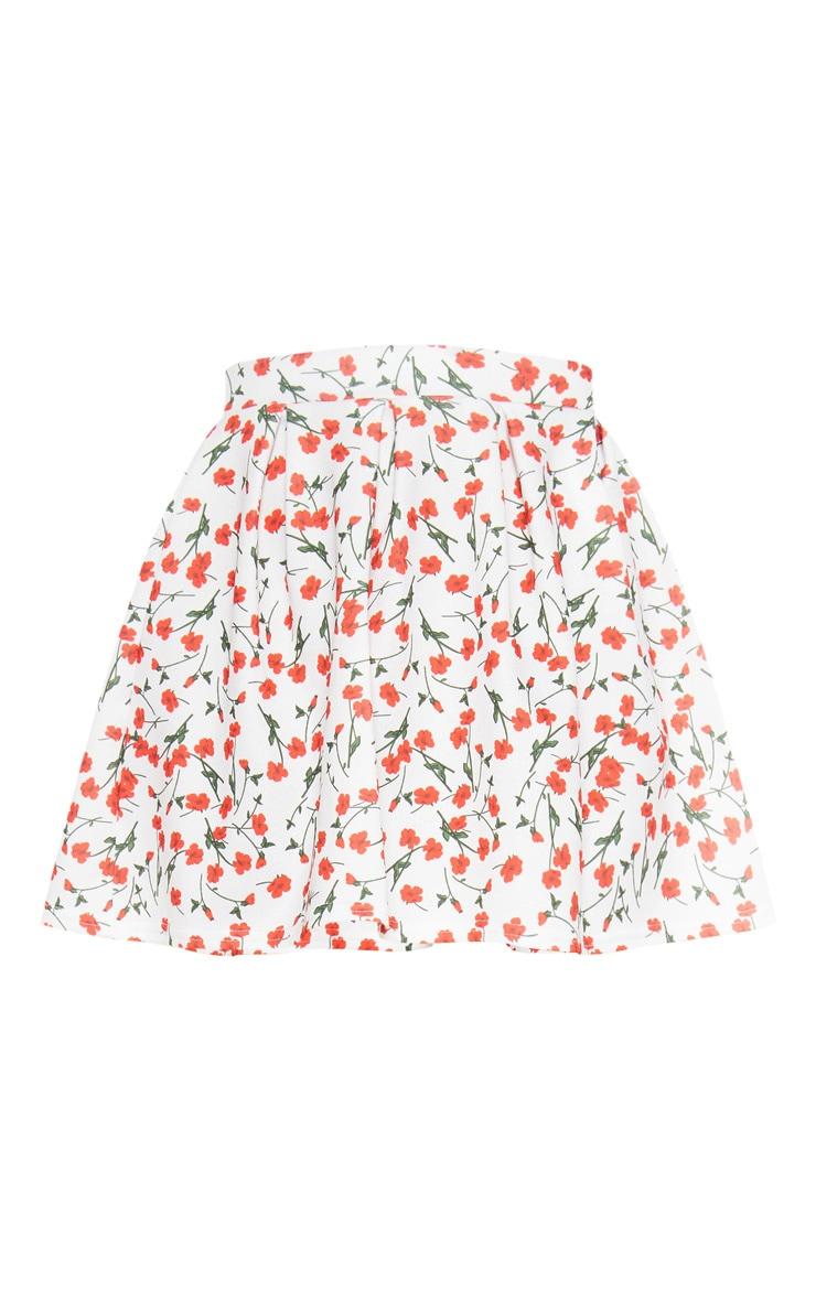 White Floral Print Pleated Waist Mini Skirt 3
