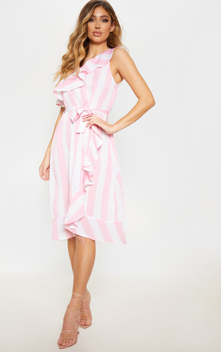Pink One Shoulder Frill Stripe Midi 4