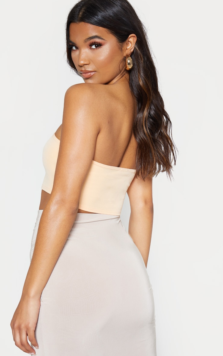 Peach Crepe Bandeau Crop Top 2