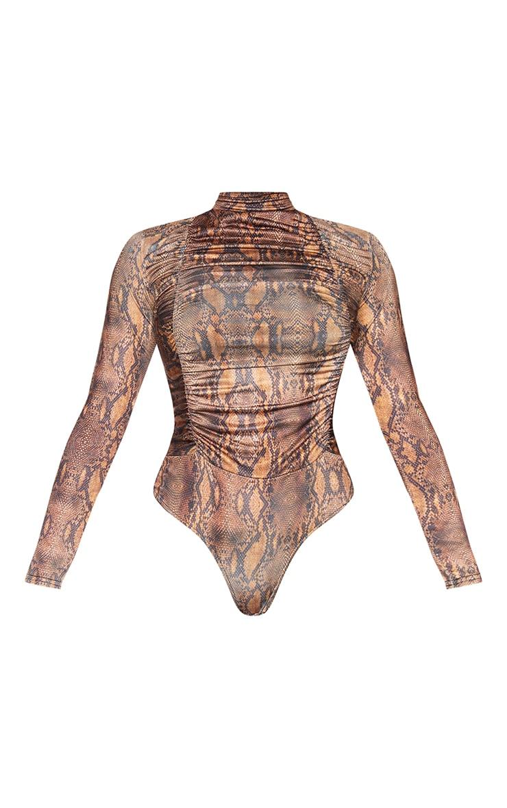 Brown Snake Print Jersey Draped High Neck Bodysuit 5