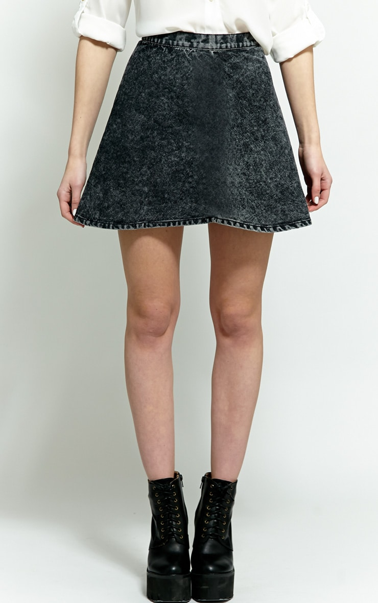 Safaia Black Acid Wash Denim Skirt 3