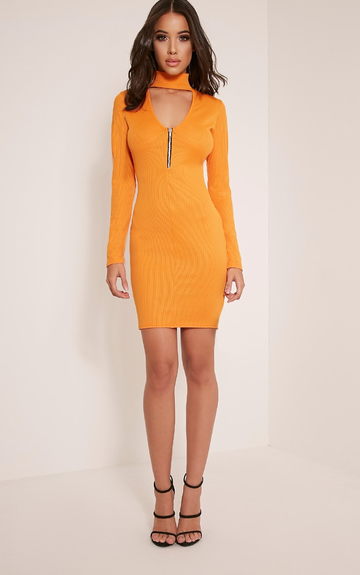 Marlene Bright Orange Zip Detail Ribbed Bodycon Dress 5