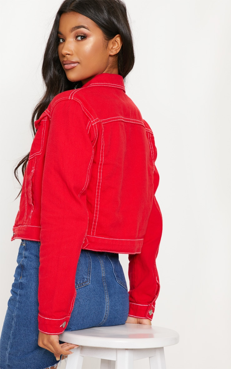 Deep Red Cropped Denim Jacket 2