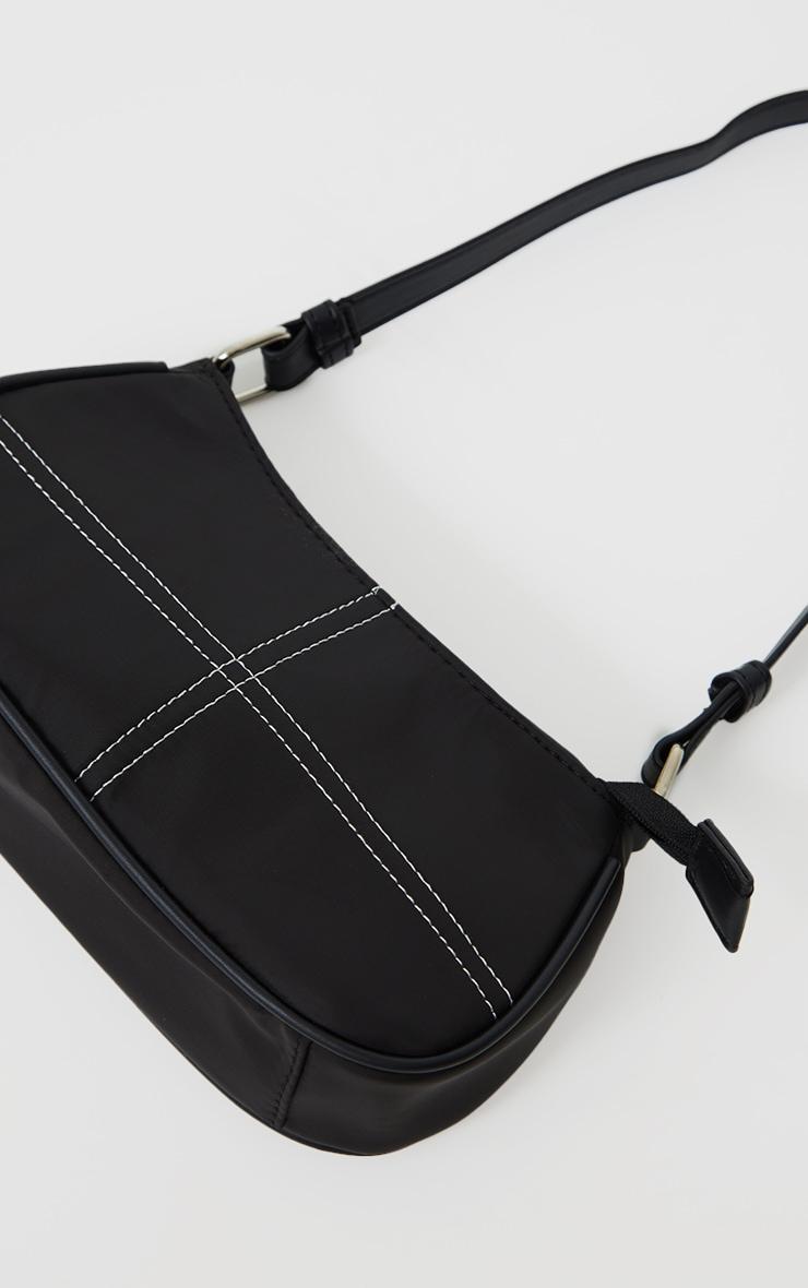 Black Exposed Stitch Shoulder Bag 4