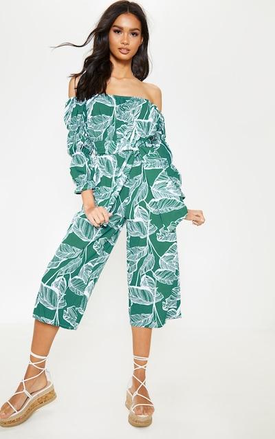 Green Floral Bardot Tie Waist Jumpsuit