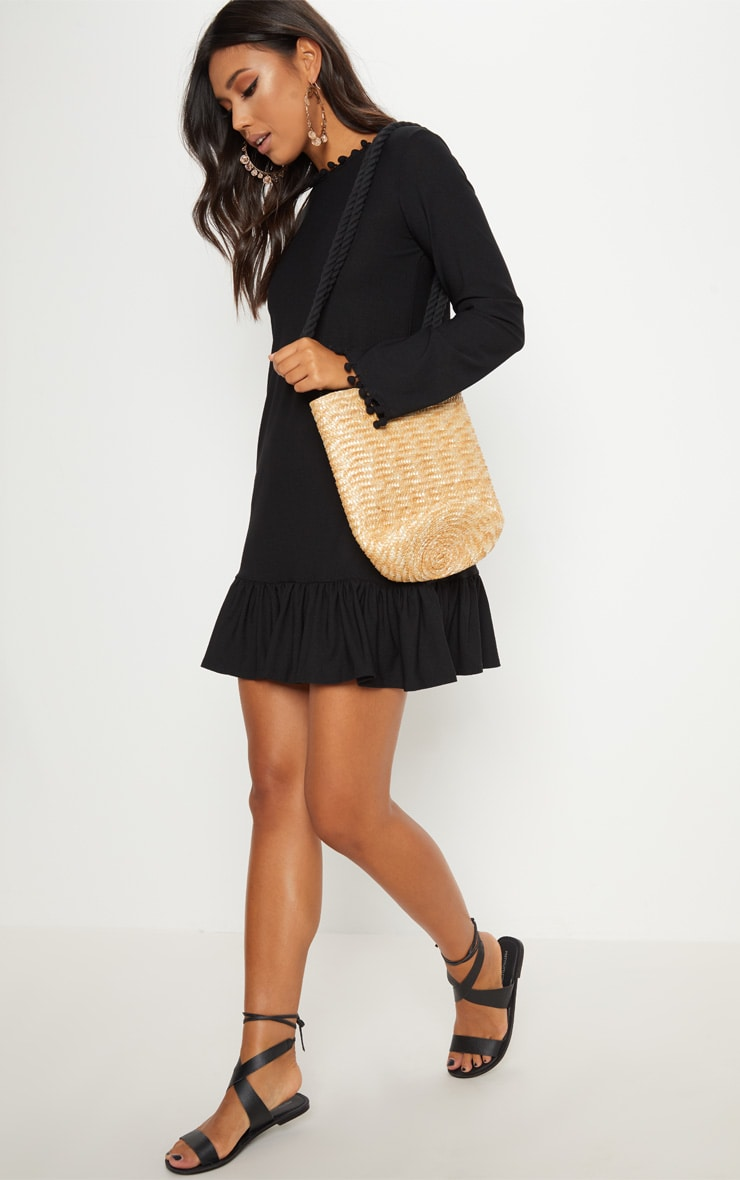 Black Pom Pom Trim Backless Shift Dress 4