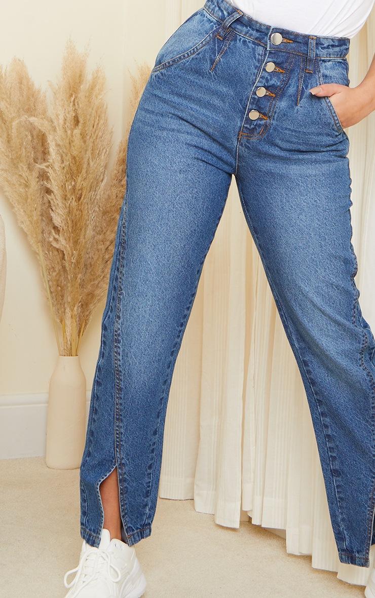 Petite Mid Blue Button Detail Split Hem Mom Jeans 4