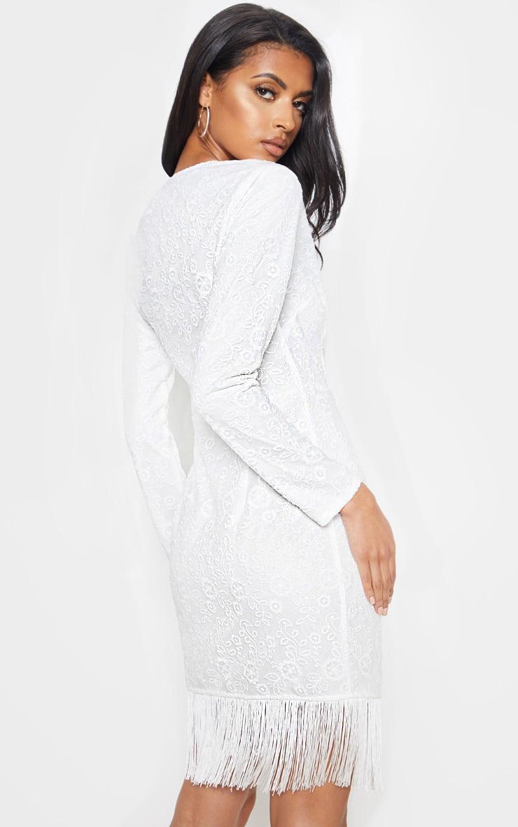 White Lace Tassel Hem Bodycon Dress 2