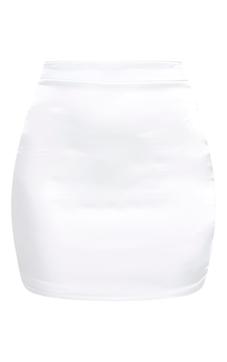White Satin High Waisted Mini Skirt 3