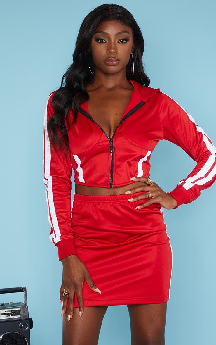Red Zip Sports Stripe Crop Hoodie 5