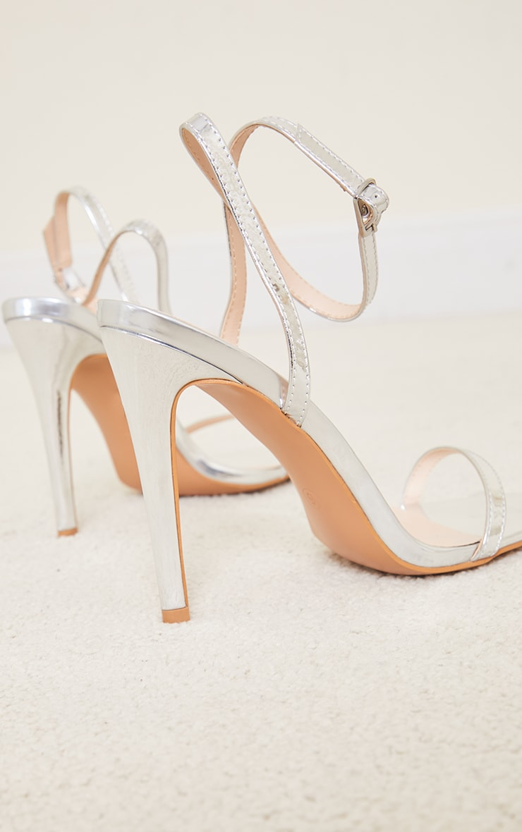 Silver PU Square Toe Barely There Strappy High Heels 4