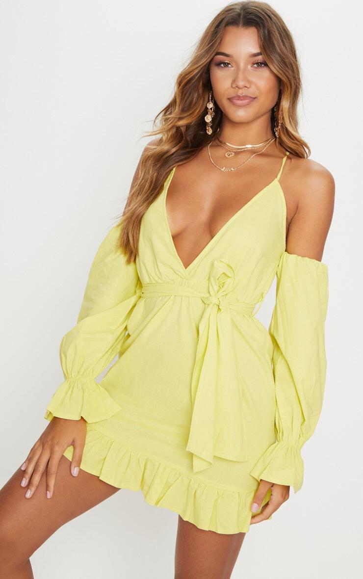 Chartreuse Frill Detail Tie Waist Shift Dress 1