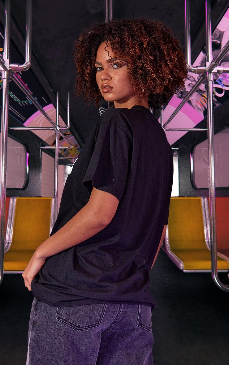 T-shirt unisexe oversize noir imprimé Harlem 3