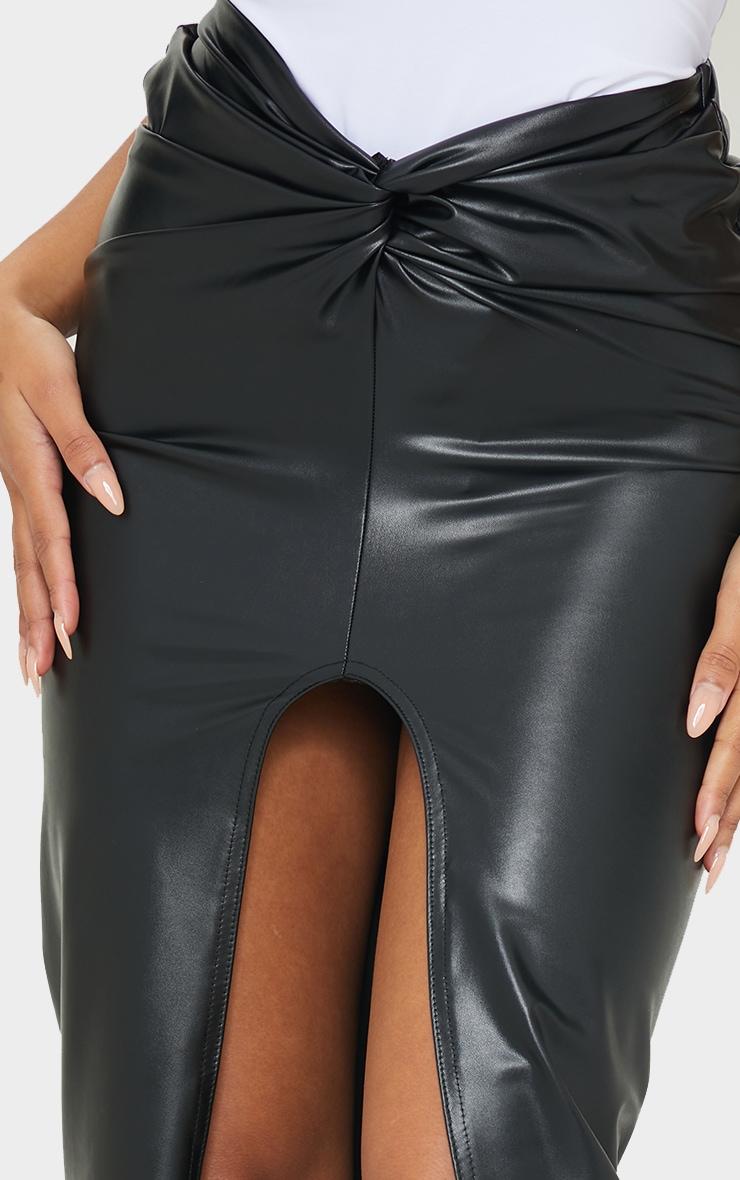 Black Faux Leather Twist Front Midi Skirt 4