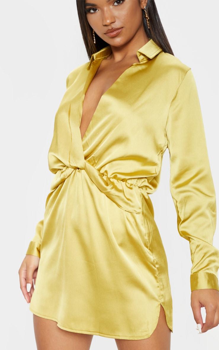 Katalea Dark Lime Twist Front Silky Shirt Dress 5