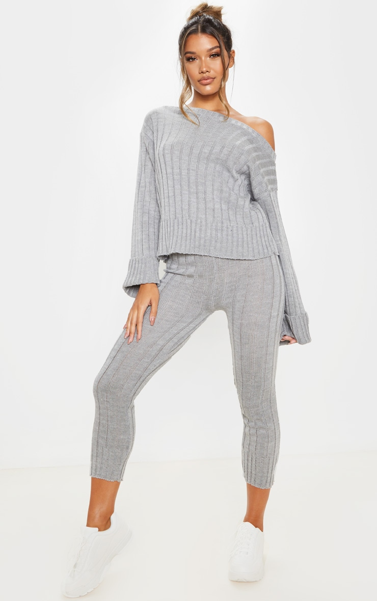 Grey Bardot Jumper And Legging Lounge Set 1