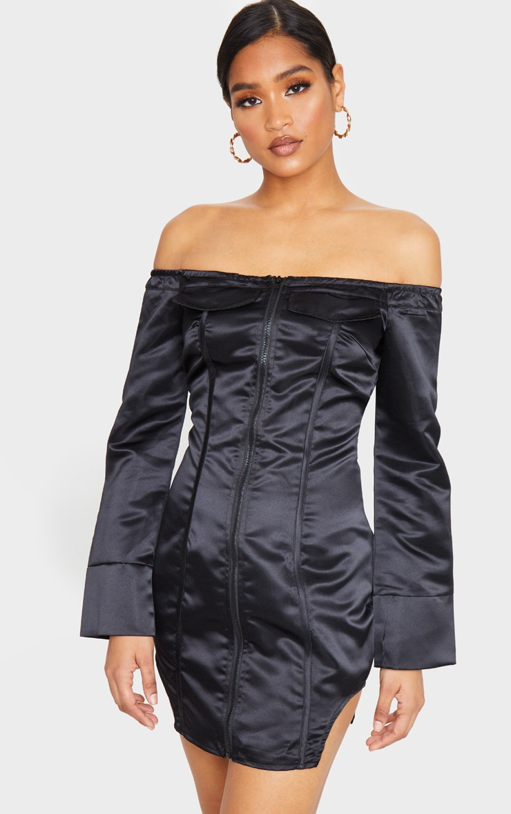 Black Woven Binding Detail Zip Front Bardot Bodycon Dress 1
