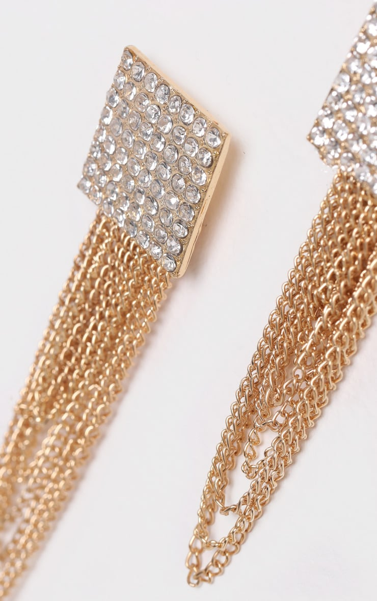 Gold Square Diamante Chain Statement Earrings 3
