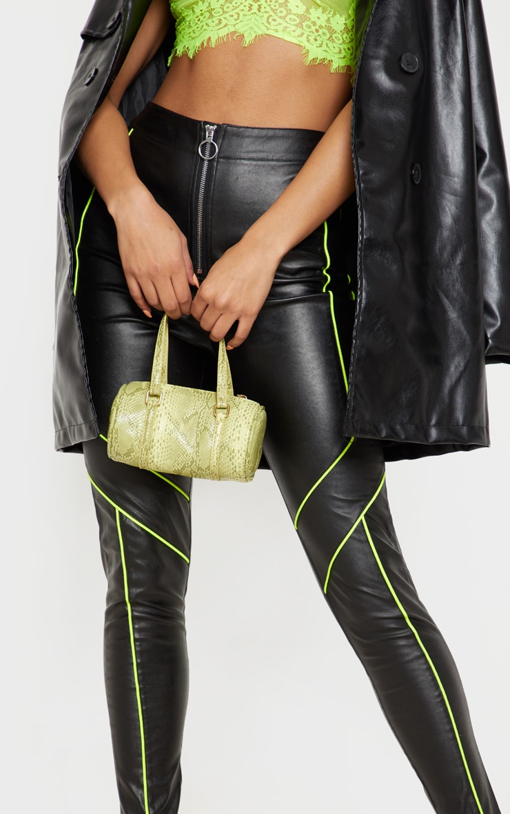 Black Faux Leather Contrast Neon Binding Skinny Trouser 5