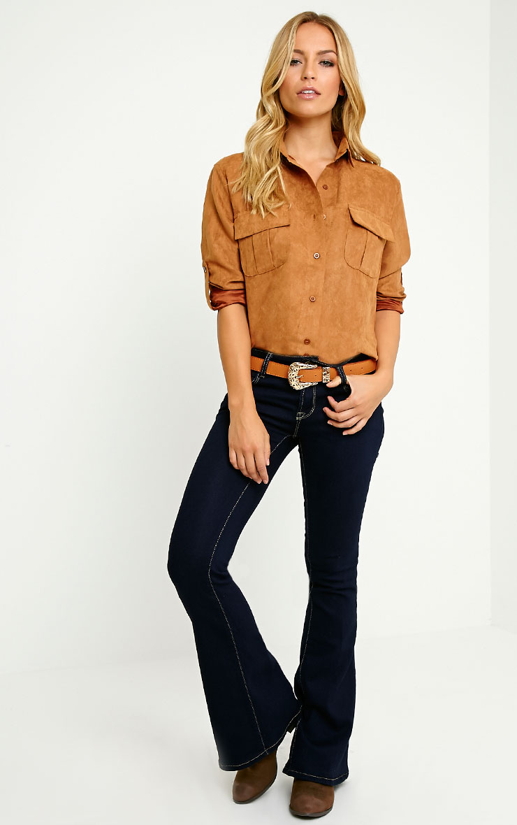 Blithe Camel Faux Suede Oversized Shirt 3