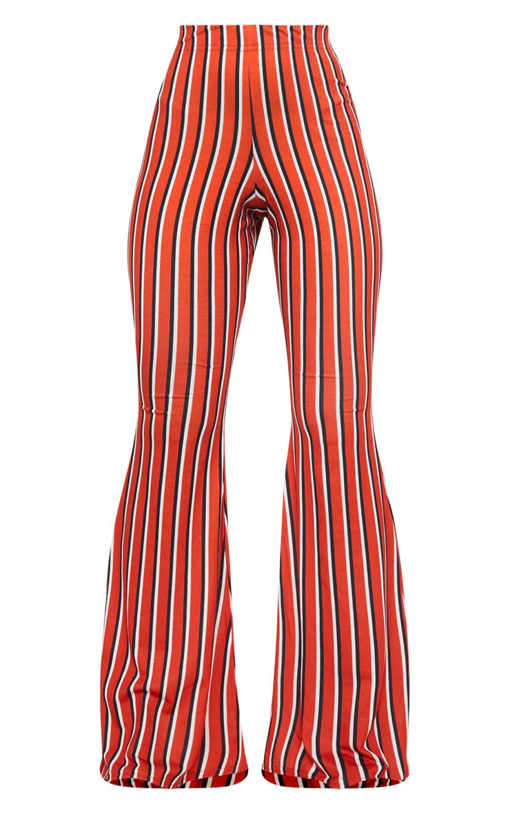 Red Jersey Vertical Stripe Flared Pants 5