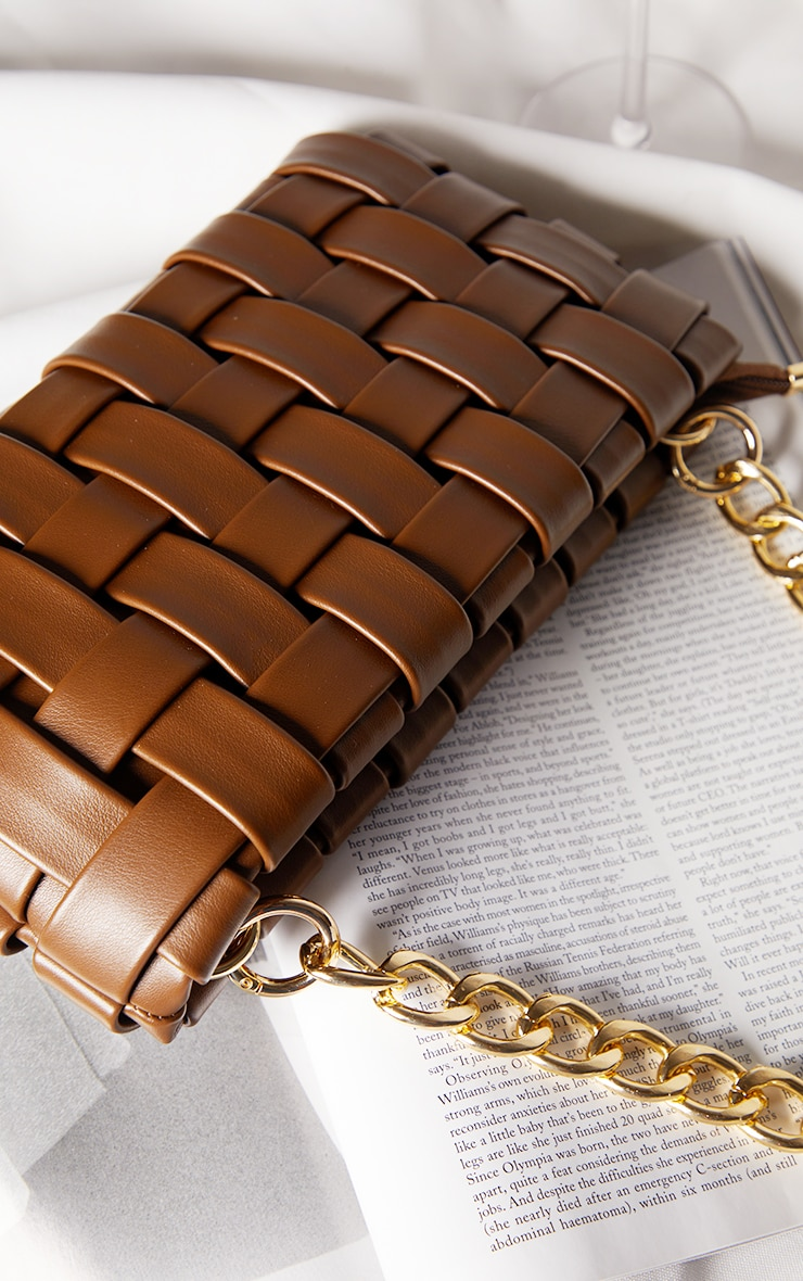 Chocolate Oversized Weave With Gold Chain Shoulder Bag 3