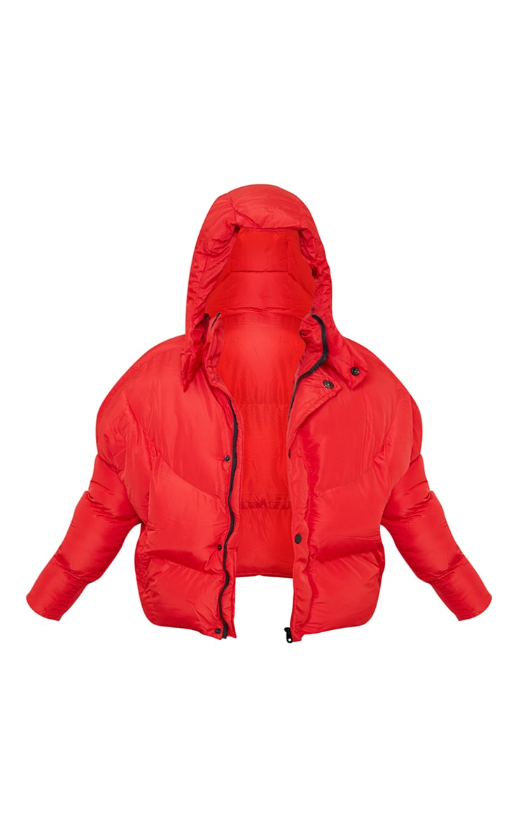 Red Nylon Oversized Curved Panel Wadded Puffer Jacket 5