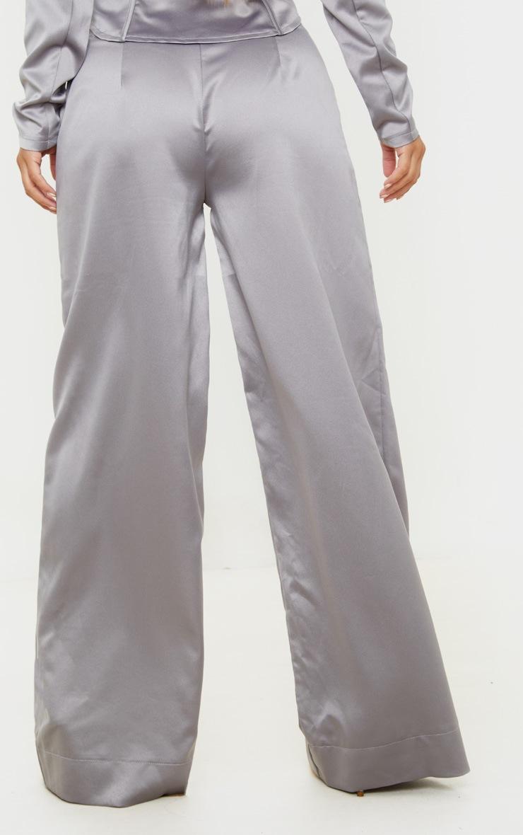 Petite Grey Satin Wide Leg Pants  4