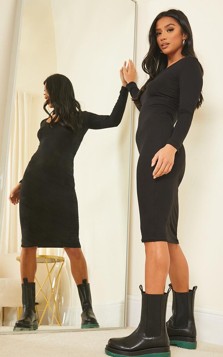Petite Black Long Sleeve Jersey Midi Dress 3