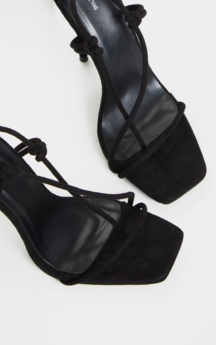 Black Square Toe Stiletto Heel Toe Thong Strappy Sandal 5
