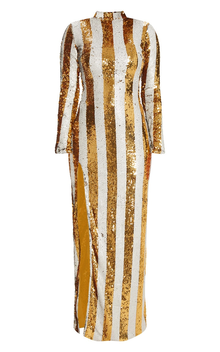 Gold Stripe Sequin Backless Maxi Dress 3